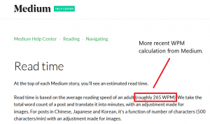 UX Read Time design on Medium