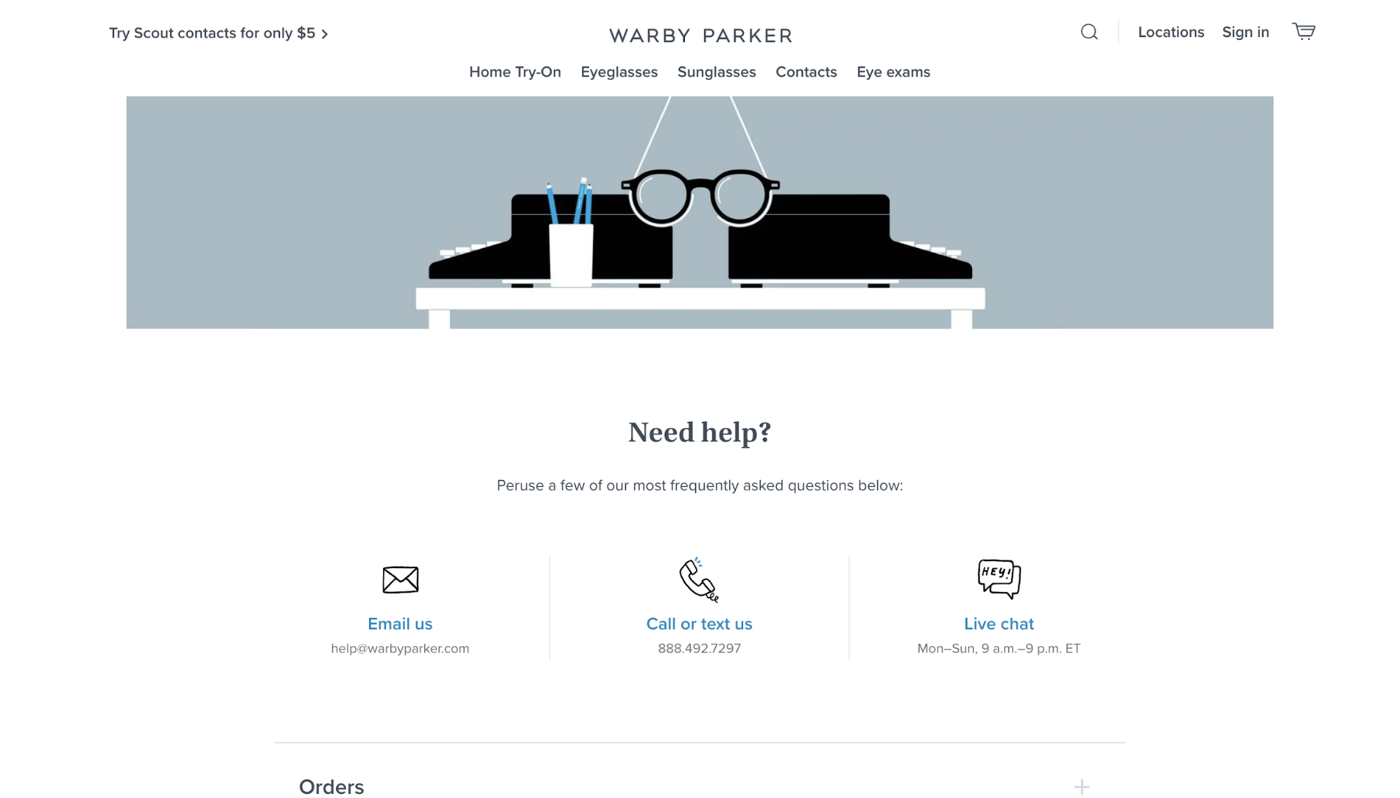 Warby Parker FAQ page