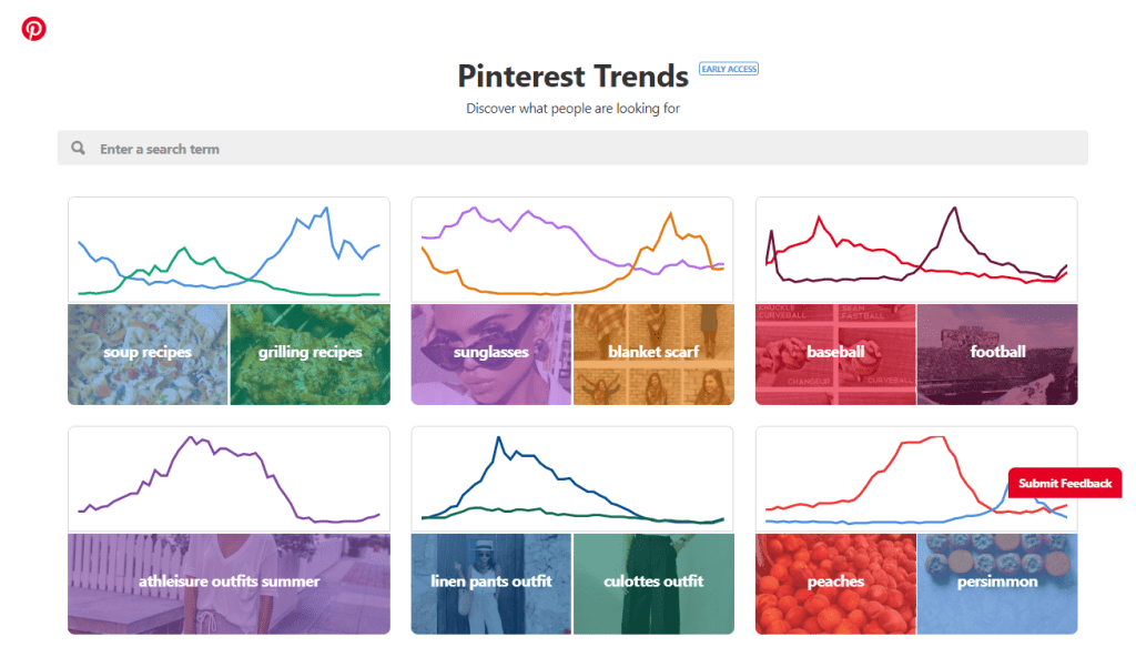 Pinterest Trends page