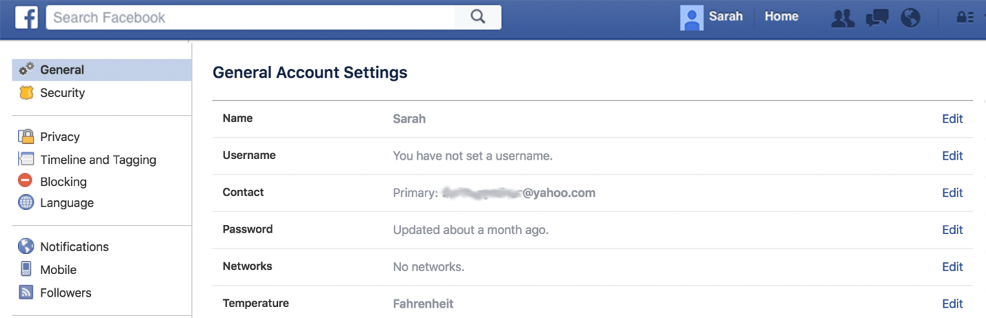 General Account Settings for Personal Facebook Account